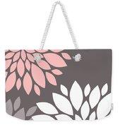 Pink Grey White Peony Flowers Weekender Tote Bag