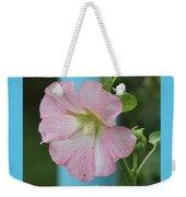 Pink Hollyhock And Rain Weekender Tote Bag