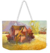Pink House Yellow Field Weekender Tote Bag
