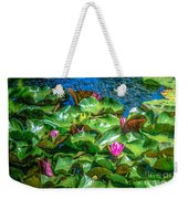 Pink Lilly Flowers And Pads Weekender Tote Bag