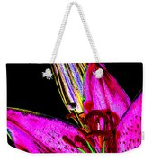 Pink Lily And Bud Pop Art Weekender Tote Bag