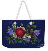Pink Metallic Rose On Blue Weekender Tote Bag