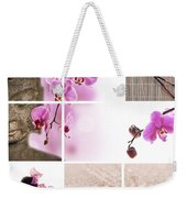 Pink Orchid And Buddha Collage Weekender Tote Bag