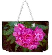 Pink Plumeria Abstract Flower Painting Weekender Tote Bag