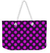 Pink Polka Dots On Black Fabric Background Weekender Tote Bag