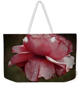 Pink Rose And Raindrops Weekender Tote Bag by Patricia Strand