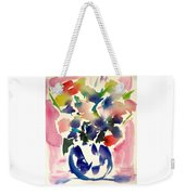 Pink Roses In A Blue Vase Weekender Tote Bag