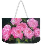 Pink Roses In A Brass Vase Weekender Tote Bag