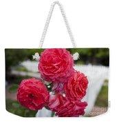 Pink Roses White Picket Fence Weekender Tote Bag