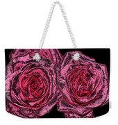 Pink Roses With Dark And Rough Chrome  Effects Weekender Tote Bag