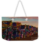 Pink Sky At Cadillac Ranch Weekender Tote Bag