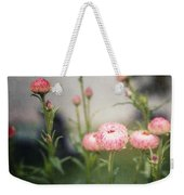 Pink Straw Flowers After A Light Rain Weekender Tote Bag