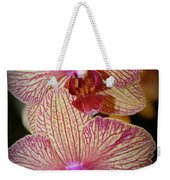 Pink Striped Orchids Weekender Tote Bag