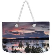 Pink Sunset At The Lake Weekender Tote Bag