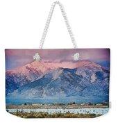 Pink Sunset On Taos Mountain Weekender Tote Bag