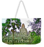 Pink Tower In The Bayon In Angkor Thom In Angkor Wat Archeological Park Near Siem Reap-cambodia Weekender Tote Bag