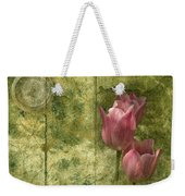 Pink Tulips And Old Clock Weekender Tote Bag