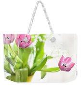 Pink Tulips In Yellow Vase Weekender Tote Bag