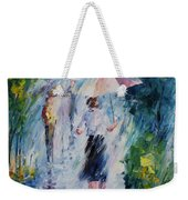 Pink Umbrella - Palette Knife Oil Painting On Canvas By Leonid Afremov Weekender Tote Bag