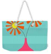 Pink Vase On Blue Weekender Tote Bag