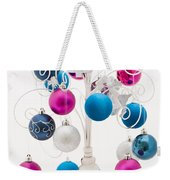 Pink White And Blue Christmas Weekender Tote Bag