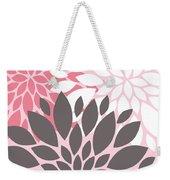 Pink White Grey Peony Flowers Weekender Tote Bag