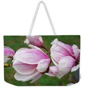 Pink White Wet Raindrops Magnolia Flowers Weekender Tote Bag