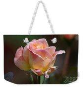 Pink Yellow Rose 01 Weekender Tote Bag