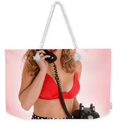 Pinup Girl On The Phone Weekender Tote Bag