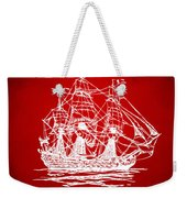 Pirate Ship Artwork - Red Weekender Tote Bag