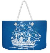 Pirate Ship Blueprint Artwork Weekender Tote Bag by Nikki Marie Smith