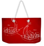 Pirate Ship Patent Artwork - Red Weekender Tote Bag by Nikki Marie Smith