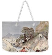 Pirates From The Barbary Coast Capturin Gslaves On The Mediterranean Coast Weekender Tote Bag by Albert Robida