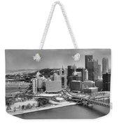 Pittsburgh Black And White Winter Panorama Weekender Tote Bag