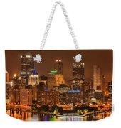 Pittsburgh Lights Under Cloudy Skies Weekender Tote Bag