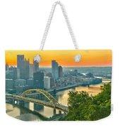 Pittsburgh Orange Skyline Weekender Tote Bag