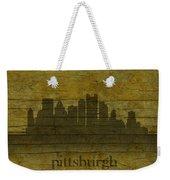 Pittsburgh Pennsylvania City Skyline Silhouette Distressed On Worn Peeling Wood Weekender Tote Bag