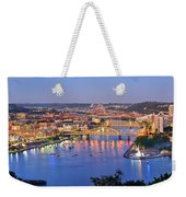 Pittsburgh Pennsylvania Skyline At Dusk Sunset Extra Wide Panorama Weekender Tote Bag