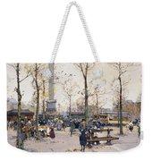 Place De La Bastille Paris Weekender Tote Bag by Eugene Galien-Laloue