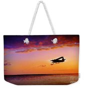 Plane Pass At Sunset Weekender Tote Bag
