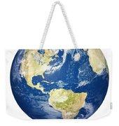 Planet Earth On White - America Weekender Tote Bag by Johan Swanepoel