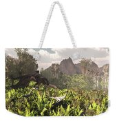 Plateosaurus And Ceolophysis Dinosaurs Weekender Tote Bag