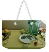 Plates, Apples And A Vase On A Green Tablecloth Weekender Tote Bag