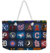 Play Ball Recycled Vintage Baseball Team Logo License Plate Art Weekender Tote Bag