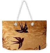 Playful Swallows Original Coffee Painting Weekender Tote Bag