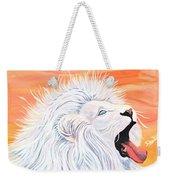 Playful White Lion Weekender Tote Bag