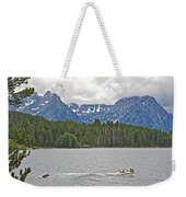 Playing In Colter Bay In Grand Teton National Park-wyoming Weekender Tote Bag