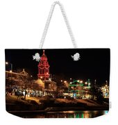 Plaza Time Tower Night Reflection Weekender Tote Bag