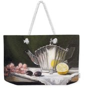 Pleated Teapot With Lemon Weekender Tote Bag by Sarah Parks