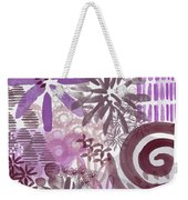 Plum And Grey Garden- Abstract Flower Painting Weekender Tote Bag